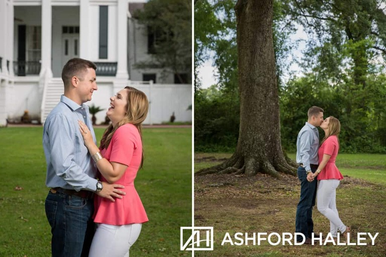 bride and groom kissing during Nottoway Plantation engagement session