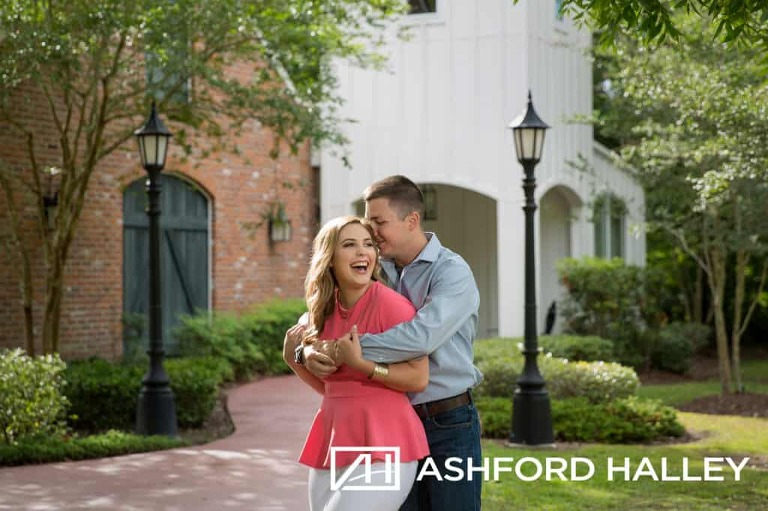 engaged couple laughing during engagement session