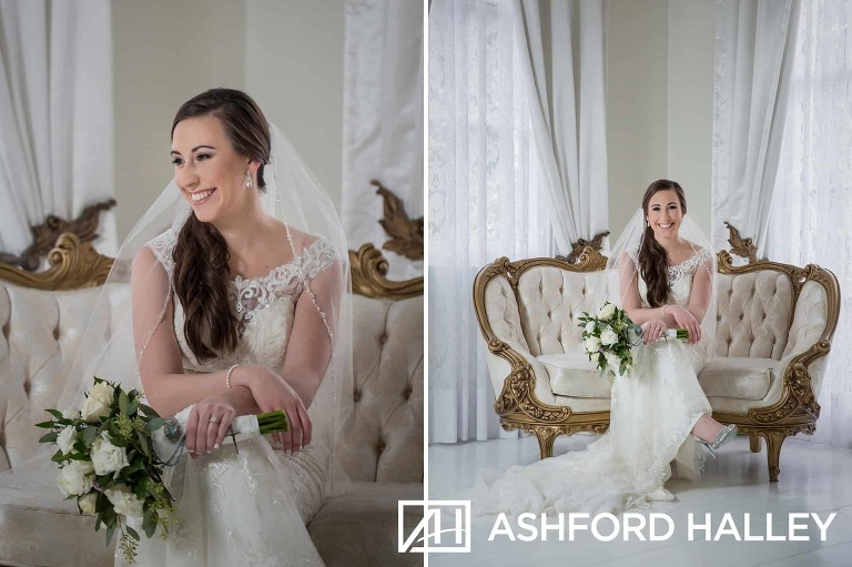 bridal session in white ballroom at Nottoway Plantation