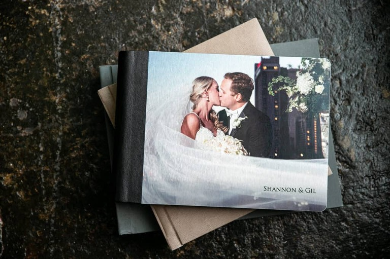 digital files printed on cover of a wedding album