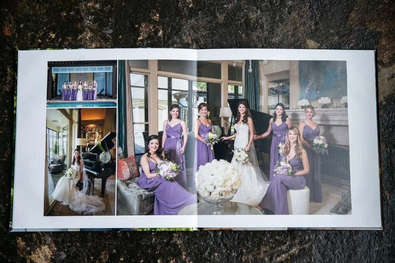 digital files printed on double page spread in a wedding album