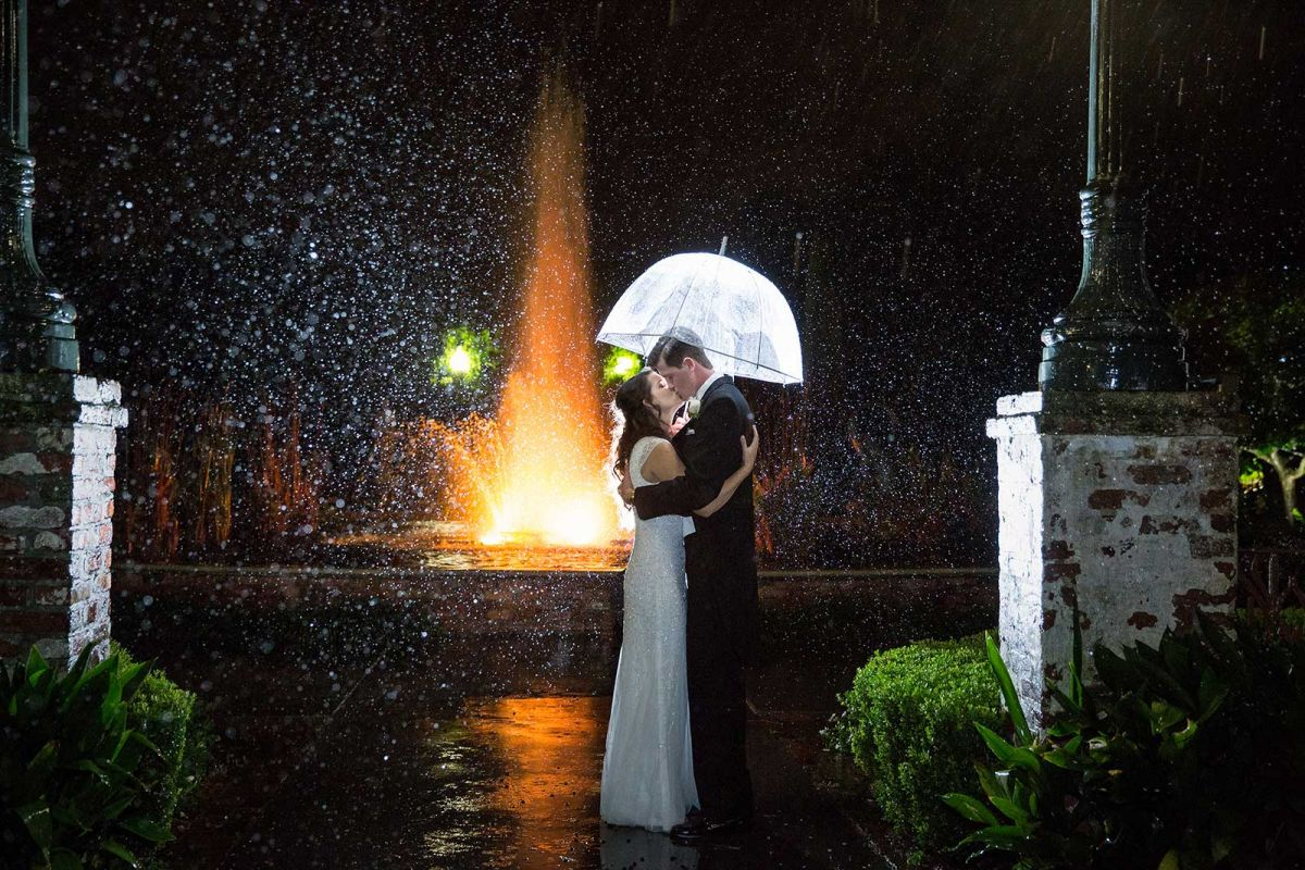 Raining wedding day